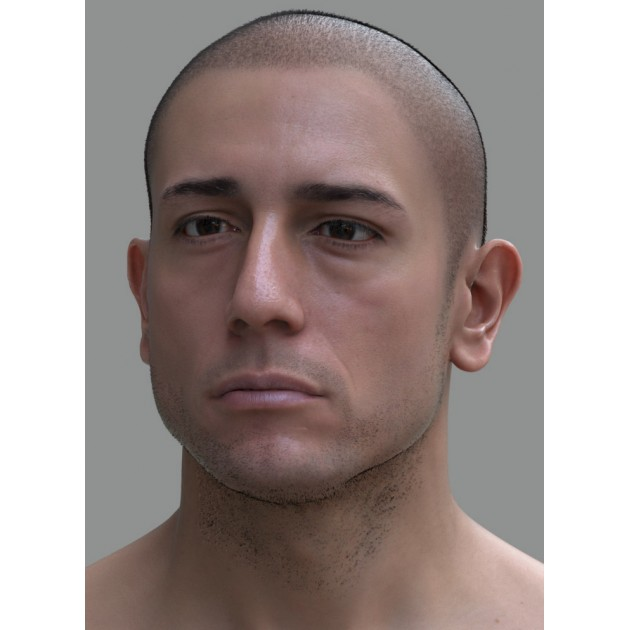 Male 018 Animation Ready Head Scan + Render scene